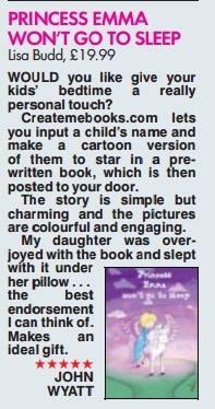 A five star review of our personalised children's book in The Sun